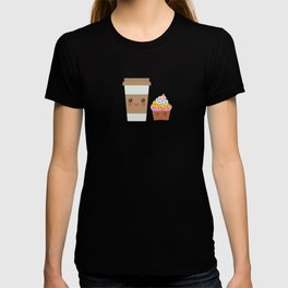 coffee in Paper thermo cup with brown cap and cup holder, chocolate cupcake. Kawaii T-shirt