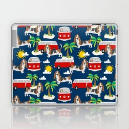 Basset Hound mini van tropical dog breed pattern hippie van custom dog portraits Laptop & iPad Skin