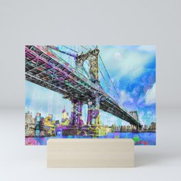 New York City Manhattan Bridge Blue Mini Art Print