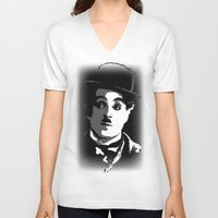 charlie V-neck T-shirts featuring Charlie by DRMdesign