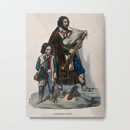 A man accompanied by a child is playing a set of bagpipes. Coloured lithograph. Metal Print