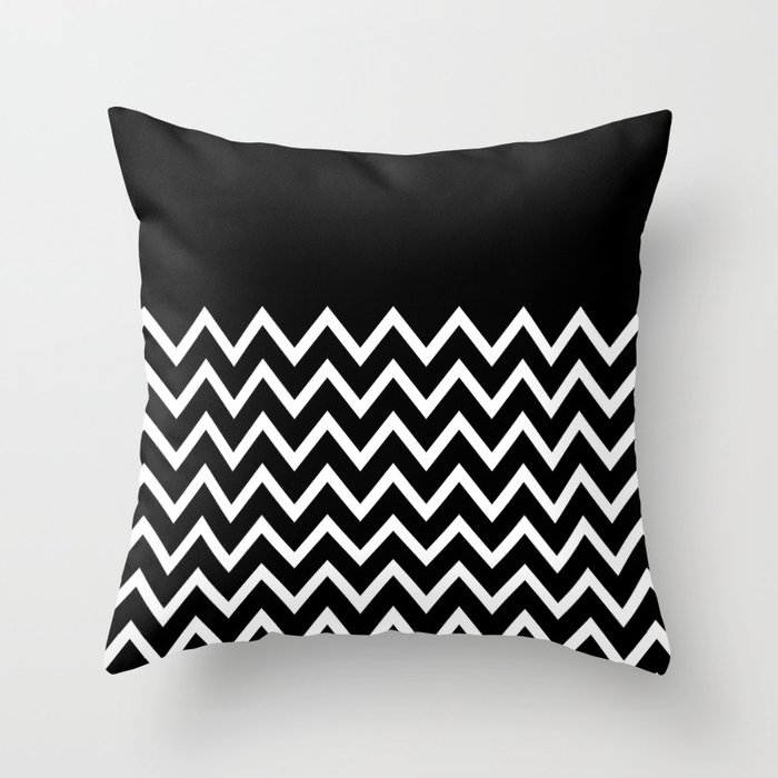 White Chevron On Black Throw Pillow