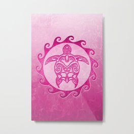 Pink Tribal Turtle Sun Metal Print