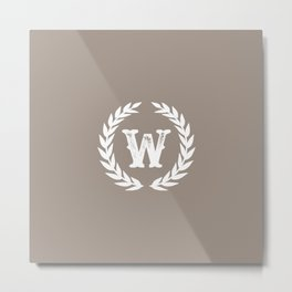 Beige Monogram: Letter W Metal Print