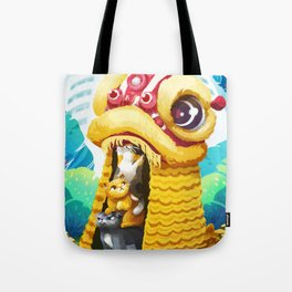 Lion Dancing Cats Tote Bag