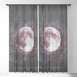 Moondala - Moon Sacred Geometry Mandala Sheer Curtain