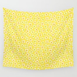 Cream Flowers Repeat Pattern Wall Tapestry