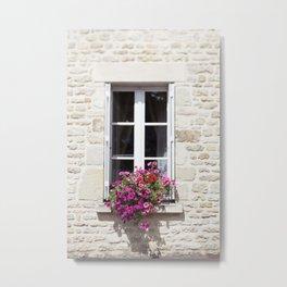 Window Flowers in France Metal Print