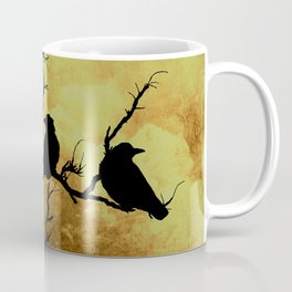 Crows on Branch Against Stormy Sky A522 Coffee Mug