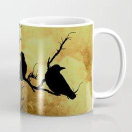 Crows on Branch Against Stormy Sky Art A522 Coffee Mug