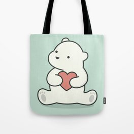 Kawaii Cute Polar Bear With Heart Tote Bag