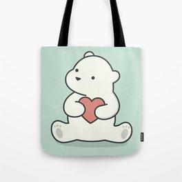 Kawaii Cute Polar Bear With Heart Tote Bag