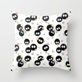 Cute Soot Sprites with Candy Throw Pillow