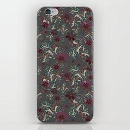 Burgundy flowers on gray iPhone Skin