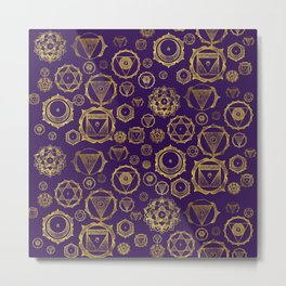 Gold on Purple Chakras Pattern Metal Print