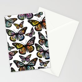 Watercolor Monarch Butterfly Colorful Art Stationery Cards