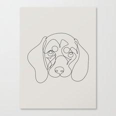 One Line Dachshund Canvas Print