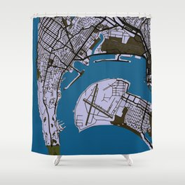 San Diego Street Map // Blue Theme Shower Curtain