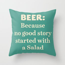Beer illustration quote, vintage Pub sign, Restaurant, fine art, mancave, food, drink, private club Throw Pillow