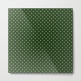 Small White Polka Dot Spots on Dark Forest Green Metal Print