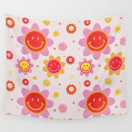 Smiling Flower Faces  Wall Tapestry