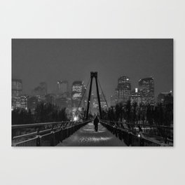 Winter Walk; Calgary in the Snow Canvas Print