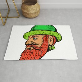Hipster Wearing Bowler Hat Etching Color Rug