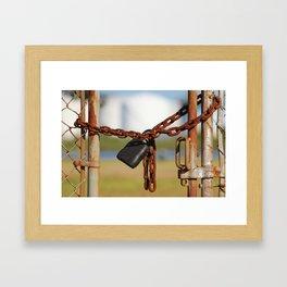 Rusty Chain With Padlock Framed Art Print