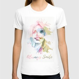 Always smile! Hand-painted portrait of a woman in watercolor. T-shirt