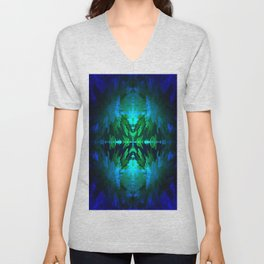 Blue columns in Abstract Unisex V-Neck