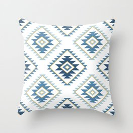 Aztec Style Motif Pattern Blues White Gold Throw Pillow