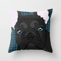 Black Frenchie Throw Pillow