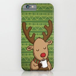 Christmas Deer Enjoying with Coffee iPhone Case
