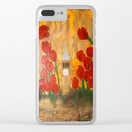 150 Years of CU - An Alumni Anniversary Tribute with Red Tulip Flowers Clear iPhone Case