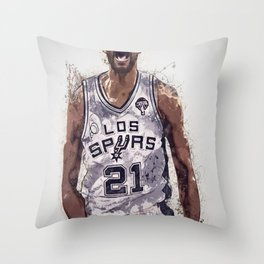 Tim Duncan poster, canvas, San Anto-nio Spurs Wall Art Decor, Gym, Home Living, Bedroom, Office Decorations, mancave with quote / citation Throw Pillow