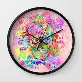 Girly Sugar Skull Pink Glitter Fine Art Paint Wall Clock