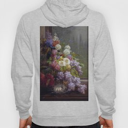 Still Life Flowers And Fruit 1855 By Thomas Hill | Reproduction Hoody