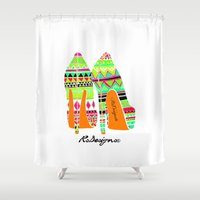 heels Shower Curtains featuring Aztec - Heels by RsDesigns