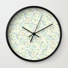 Country chic ivory neo mint lavender watercolor flowers Wall Clock