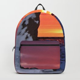 Golden Sunset on Sea and  Snow Backpack