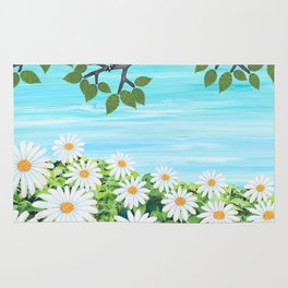 red bellied woodpeckers and daisies Rug