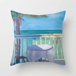 Seaview Cafe Table at the Caribbean With Palm Throw Pillow