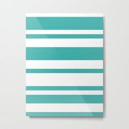 Mixed Horizontal Stripes - White and Verdigris Metal Print