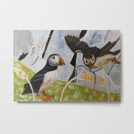 Pair of Puffins Metal Print