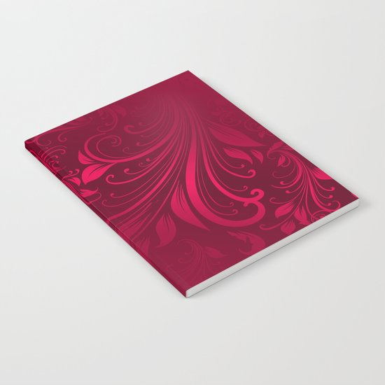 Red maroon swirls leaves Notebook