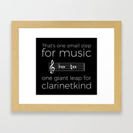 Crossing the break (clarinet) - white text for dark t-shirts Framed Art Print