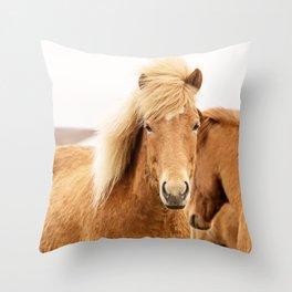 Icelandic Chestnut Horse Throw Pillow