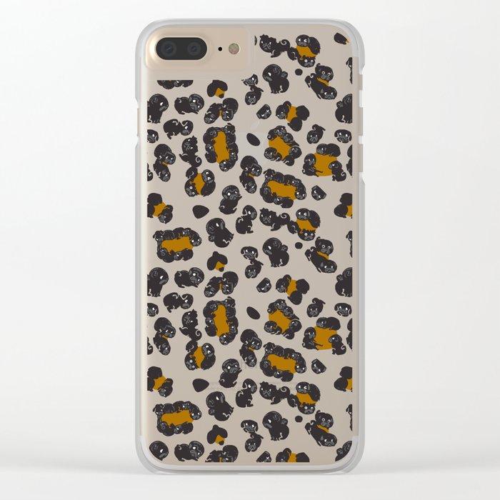 Leopard Pugs Clear iPhone Case
