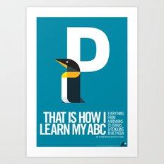 Animal Alphabet P Art Print