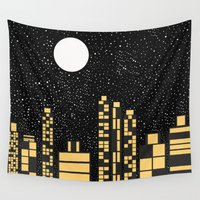 starry night Wall Tapestries featuring Starry Night by Alisa Galitsyna
